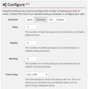Snapshot backup configuration