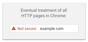"Example of HTTP site labelled as ""not secure"""