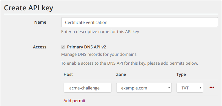 Restricted API key