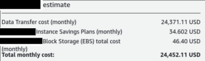 Quote from unspecified cloud provider of $24,452 per month